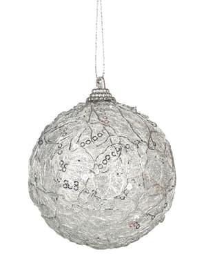Koristeltu hopeanvärinen joulupallo