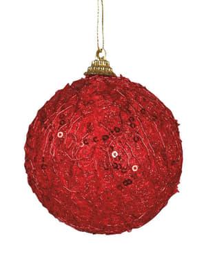 Bola navideña roja decorada con lentejuelas
