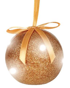 Bola navideña dorada con luces