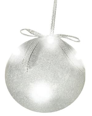 Bola navideña plateada con luces