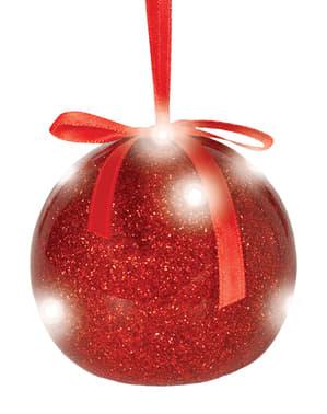 Bola navideña roja con luces