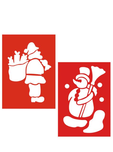 Set de 2 pochoirs de Noël bonhomme de neige Père Noël