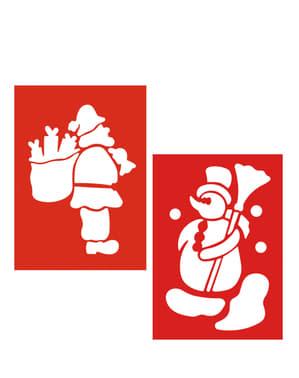 2 Snjegovića i Djed Mraz šablone
