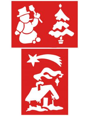 2 db karácsonyi hullócsillag stencil