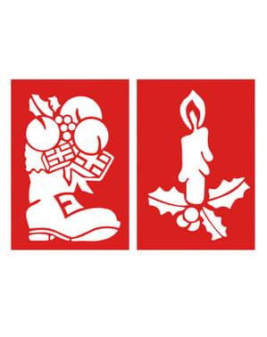 2 db karácsonyi csizma és gyertya mintás stencil