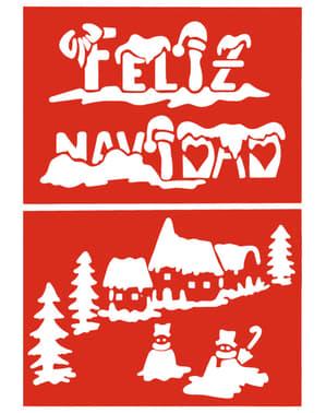 2 Στένσιλ Merry Christmas