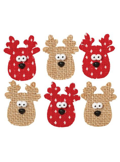 Set de 6 renos navideños adhesivos