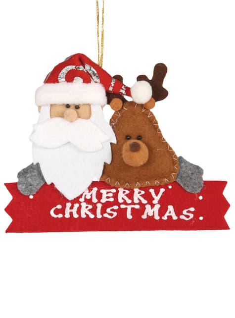 Adorno natalício Merry Christmas para a árvore
