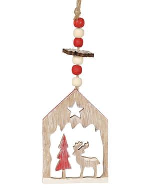 Decorațiune de agățat de Crăciun căsuță de lemn