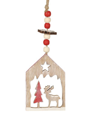 Hanging Wooden House Christmas Decoration