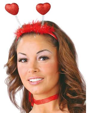 Haarreif mit glizernden Herzen Rot