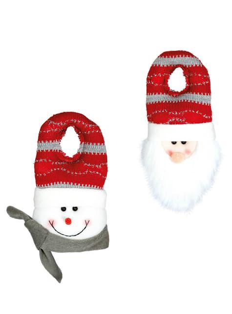 adorno natalício para maçaneta com boneco de neve