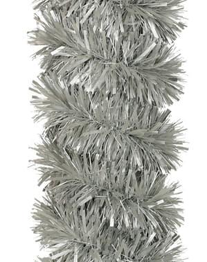 Espumillón navideño plata brillante