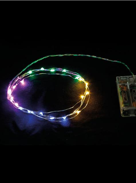 20 LED mikro světel bílý drát - multibarevná