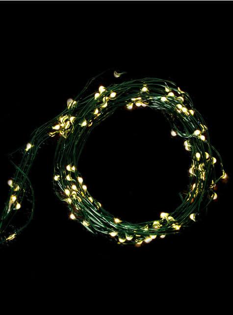 50 LED mikro světla se zeleným drátem - teplá bílá