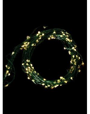 Зелен микро LED гирлянд със 100 лампички– топла бяла светлина