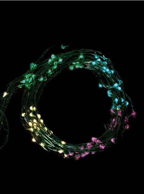 100 LED mikro světla se zeleným drátem - multibarevná