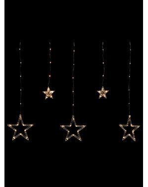 Cortina de estrelas com luzes brancas
