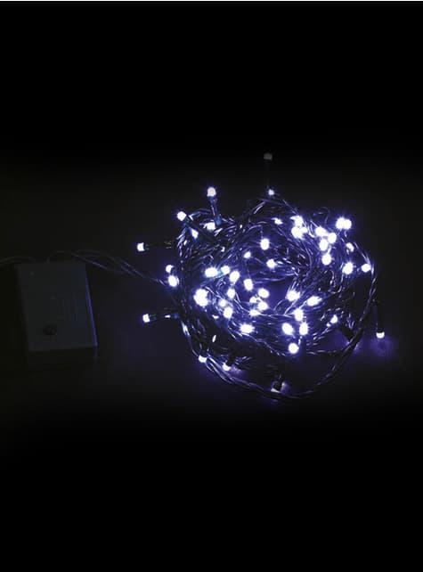 Guirnalda navideña con luces azules transparentes