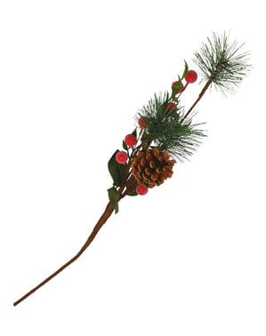Rama natalícia de folhas de pinheiro