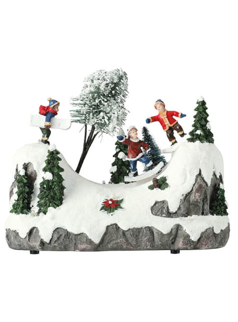 Hrající vánoční děti se světly a pohybem