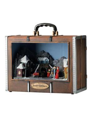 Juleby musikalske koffert med lys og bevegelse