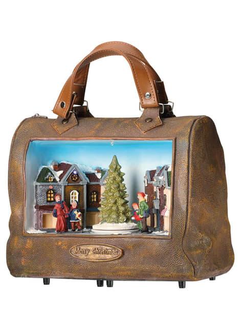 Pueblo navideño en bolso musical con luz y movimiento