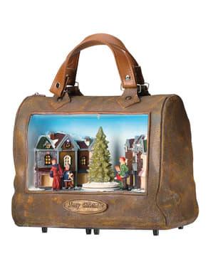 Julebyen musikalsk taske med lys og bevægelse
