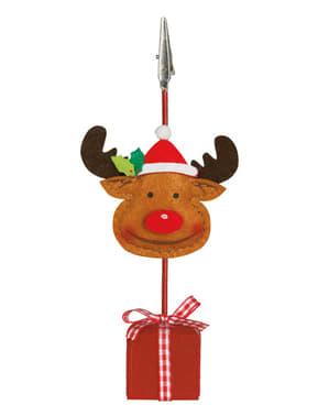 Pinça para cartão de Natal com rena