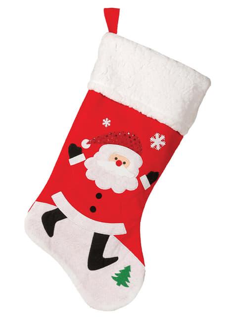 Bota navideña de Papá Noel con borreguito