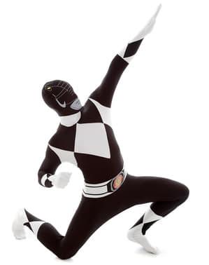 Черно мощност рейнджър Възрастен костюм Morphsuit