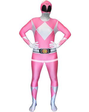 Vaaleanpunainen Power Ranger -Morphsuit-asu aikuisille