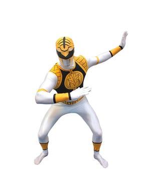 Valkoinen Power Ranger -Morphsuit-asu aikuisille