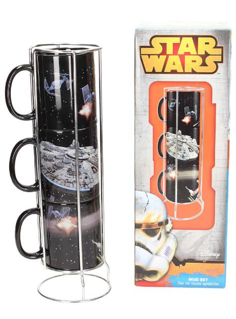 Conjunto 3 mini-canecas empilháveis Millennium Falcon - Star Wars