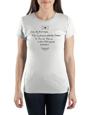 女性用ハリーポッター・ホグワーツレターTシャツ