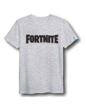 Camiseta Fortnite Logo gris infantil