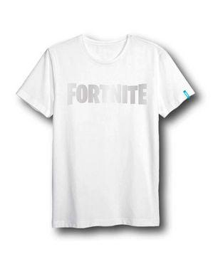 לוגו לשני המינים T-Shirt Fortnite למבוגרים בלבן