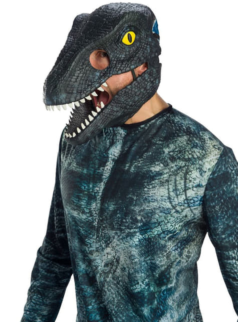 Blue Velociraptor Mask Jurassic World 2 Fancy Dress Halloween Costume Accessory