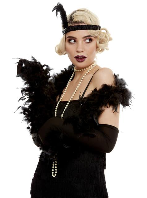 Boa de plumas negra - para tu disfraz