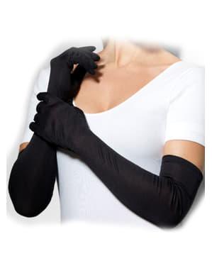 Довгі чорні рукавички