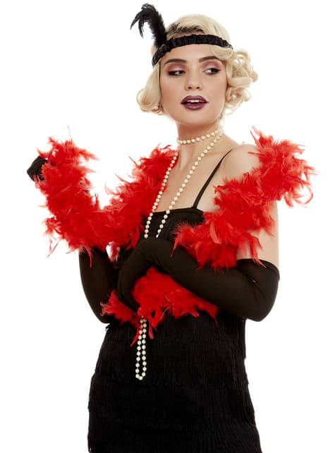 Boa de plumas roja - para tu disfraz