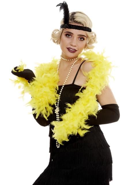 Boa de plumas amarilla - para tu disfraz