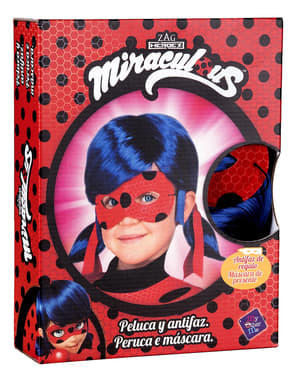 Parrucca Ladybug e maschera per bambina