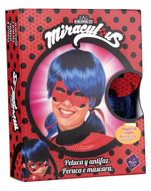 Parrucca Ladybug e maschera per donna