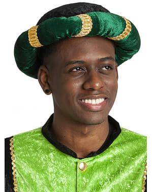 Turbante de pajem verde para adulto
