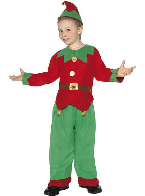 Disfraz de elfo verde y rojo infantil
