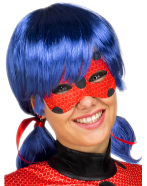 Peruca Ladybug e máscara para mulher