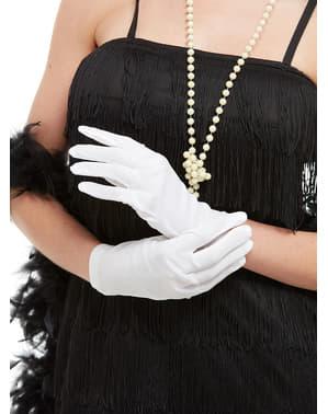 Vita handskar för vuxen 25 cm