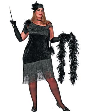 Zwart grote maat Charleston kostuum voor vrouw