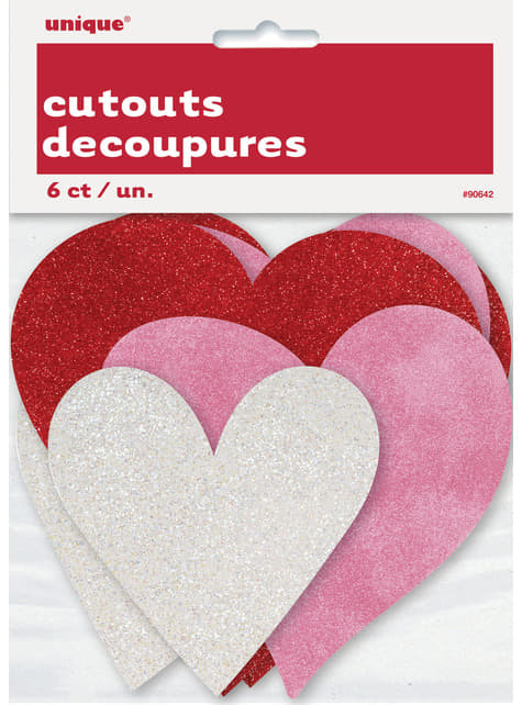 3 corazones surtidos de purpurina